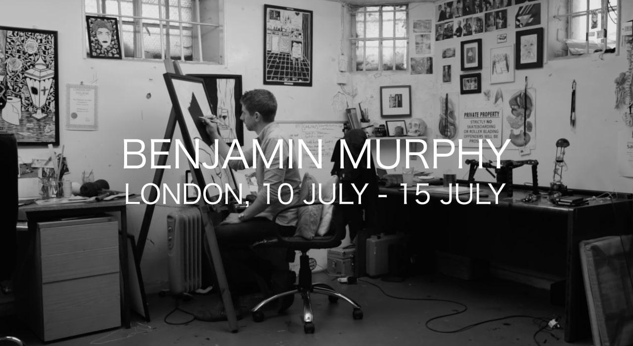 benjamin murphy in his studio making tape art