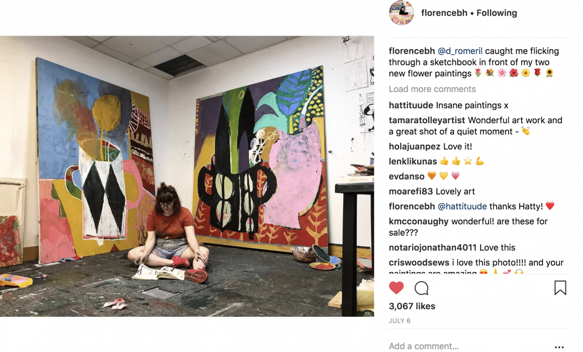 Florence Hutchings one of the best artists on Instagram in her studio