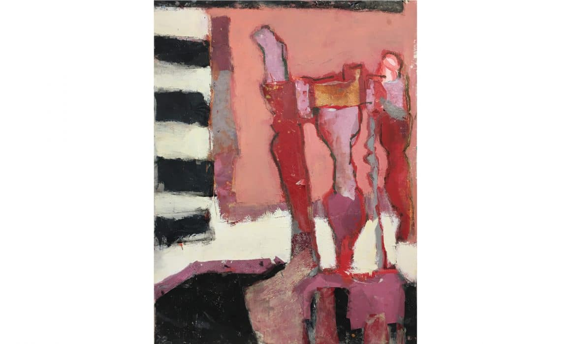 Pink Zebra painting by Florence Hutchings from her Seating Arrangement exhibition with Delphian Gallery