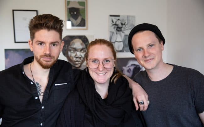 The Delphian Podcast portrait with delphian directors Nick JS Thompson and Benjamin Murphy with Kate Mothes