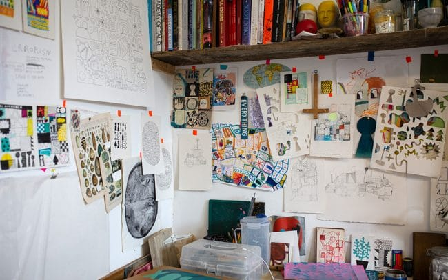 Picture of the interior of artist David Shillnglaw's studio in margate