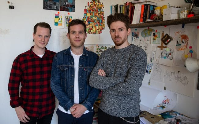 Delphian Gallery directors Nick JS Thompson and Benjamin Murphy with David Shillinglaw in his studio in Margate