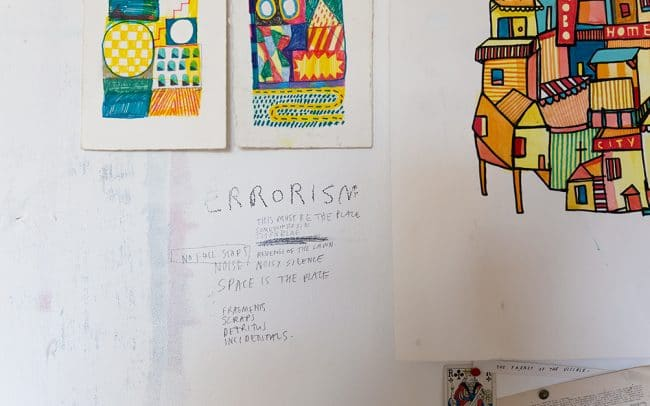 Picture of handwritten notes on the wall of artist David Shillnglaw's studio in margate