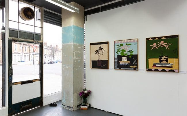 Image of the gallery wall with paintings by Jordy Kerwick from his exhibition with Delphian Gallery