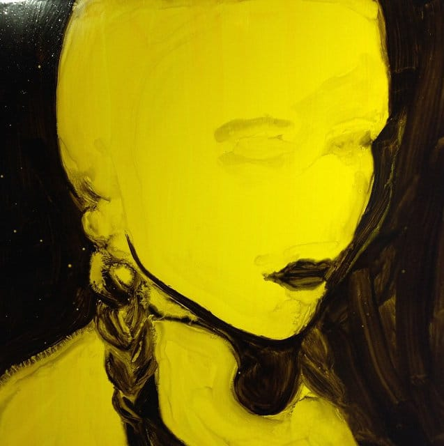 Hedley Roberts portrait painting in yellow and black