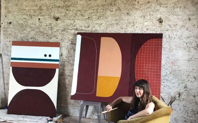 Portrait of australian french based artist Rachael McCully in her studio