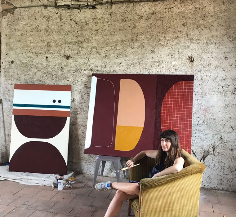 Portrait of australian french based artist Rachael McCully in her studio