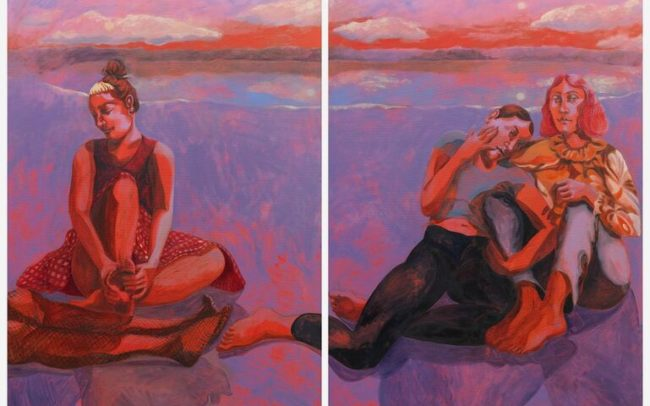 Diptych figurative painting by Nettle Grellier