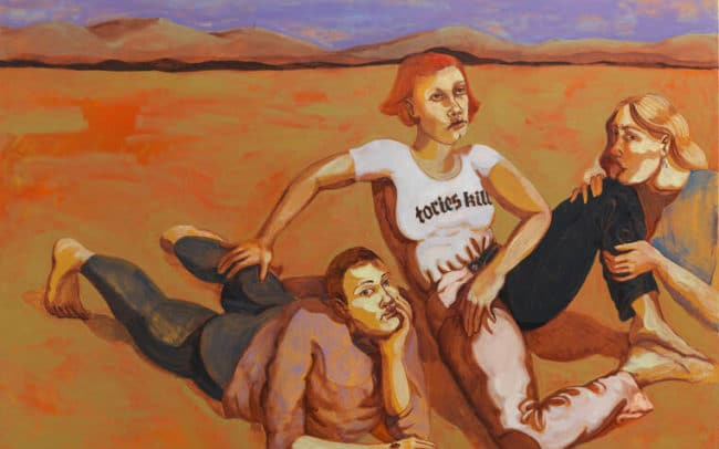 Painting of figures by Nettle Grellier with one wearing a Tories Kill tshirt