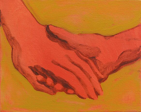 A painting by Nettle Grellier of two holding hands