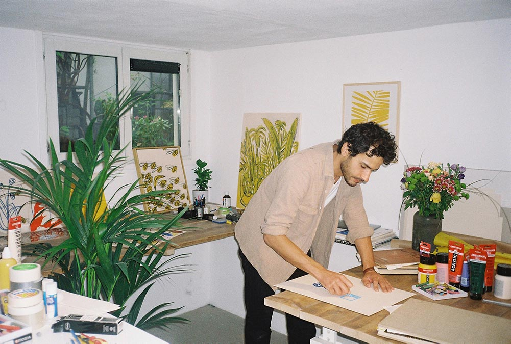 A portrait of german artist B D Graft in his Amsterdam studio
