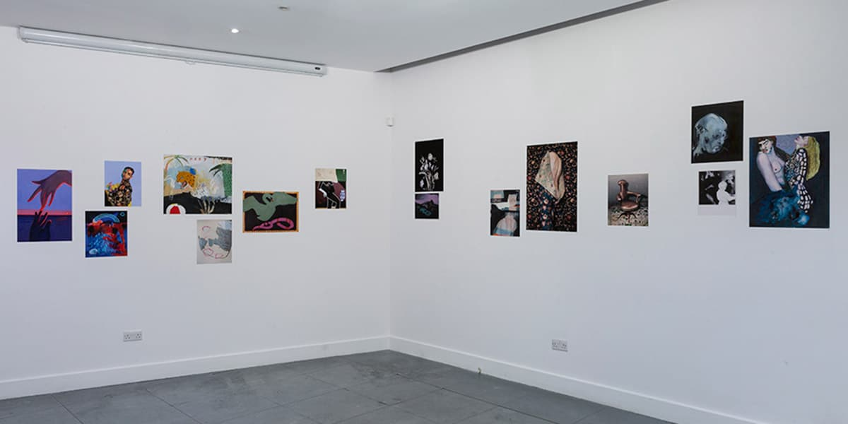 Picture of the gallery walls of the Delphian Open Call exhibition in 2019